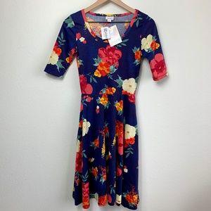 LULAROE Navy & Floral 3/4 Sleeve Pocketed Dress